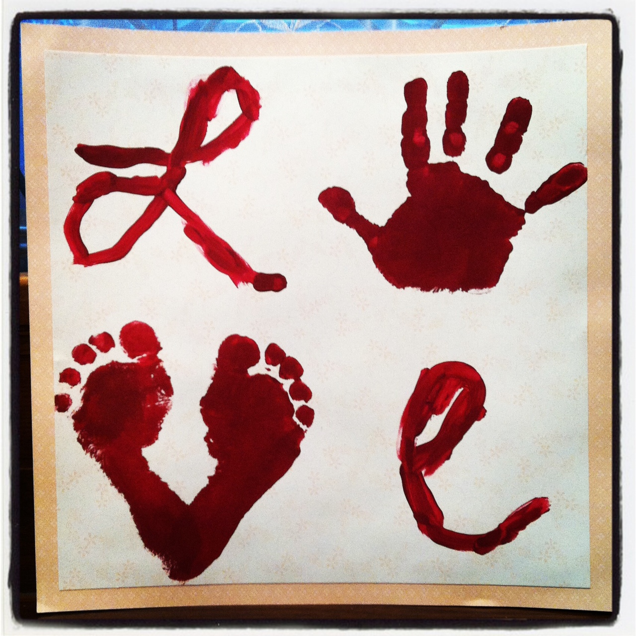 Valentine s day handprint crafts the suede sofa for Hand and feet painting ideas