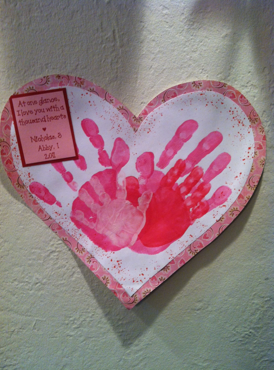 Valentine s day handprint crafts the suede sofa for Valentines day art and crafts for preschoolers